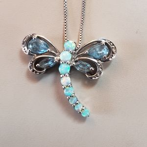 Jewelry - Dragonfly Necklace Silver, Opal, & Blue Topaz